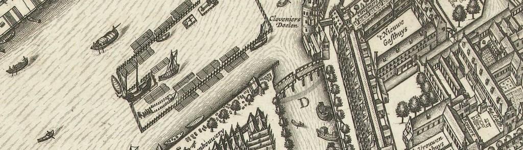 De galei ligt linksonder in de haven. Detail uit de kaart van Van Berckenrode (1625).