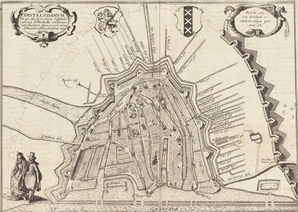 De verschillende paden buiten de stad. De orientatie van deze paden werd overigens overgenomen tijdens de inrichting van de huidige Jordaan (Braun-Hogenberg, 1612).