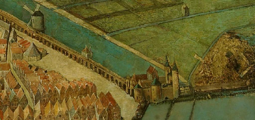 De muur op de kaart van Cornelis Anthonisz. (1538). Bovenop de vijf meter hoge muur liep een weergang waar de soldaten konden lopen. Onder de bogen verbleven de armen.