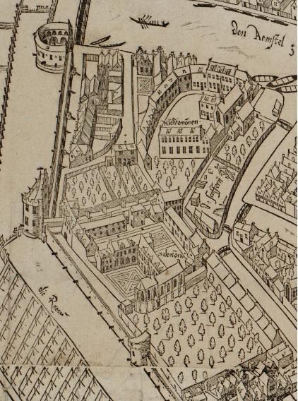 In de kloostertuinen stonden bomen, in tegenstelling tot de rest van de stad (1544).