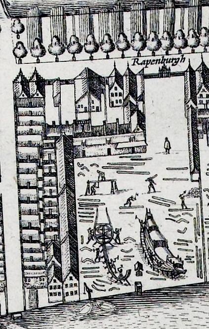 De peperwerf in 1625. Linksonder de pakhuizen die nog steeds bestaan.