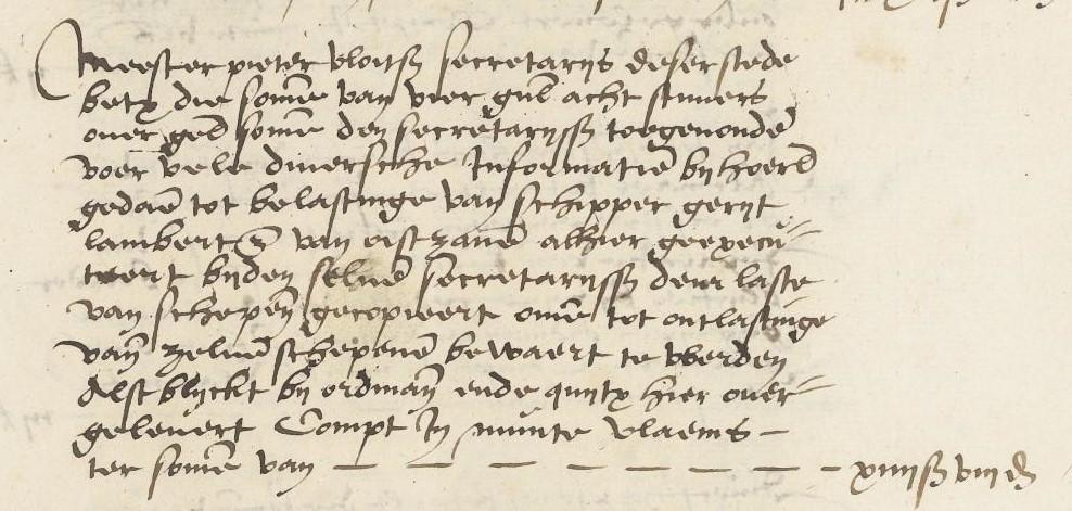 Uit de stadsrekening uit 1564 blijkt dat secretaris Pieter Vloits kosten heeft gemaakt om informatie over Gerrit Lambertsz in te winnen.