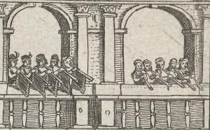 De stadstrompetters van Antwerpen aan het werk tijdens de afkondiging van het Eeuwig Verdict (1577).