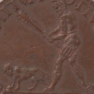 Een hond wordt bedreigd met een knuppel (1581)