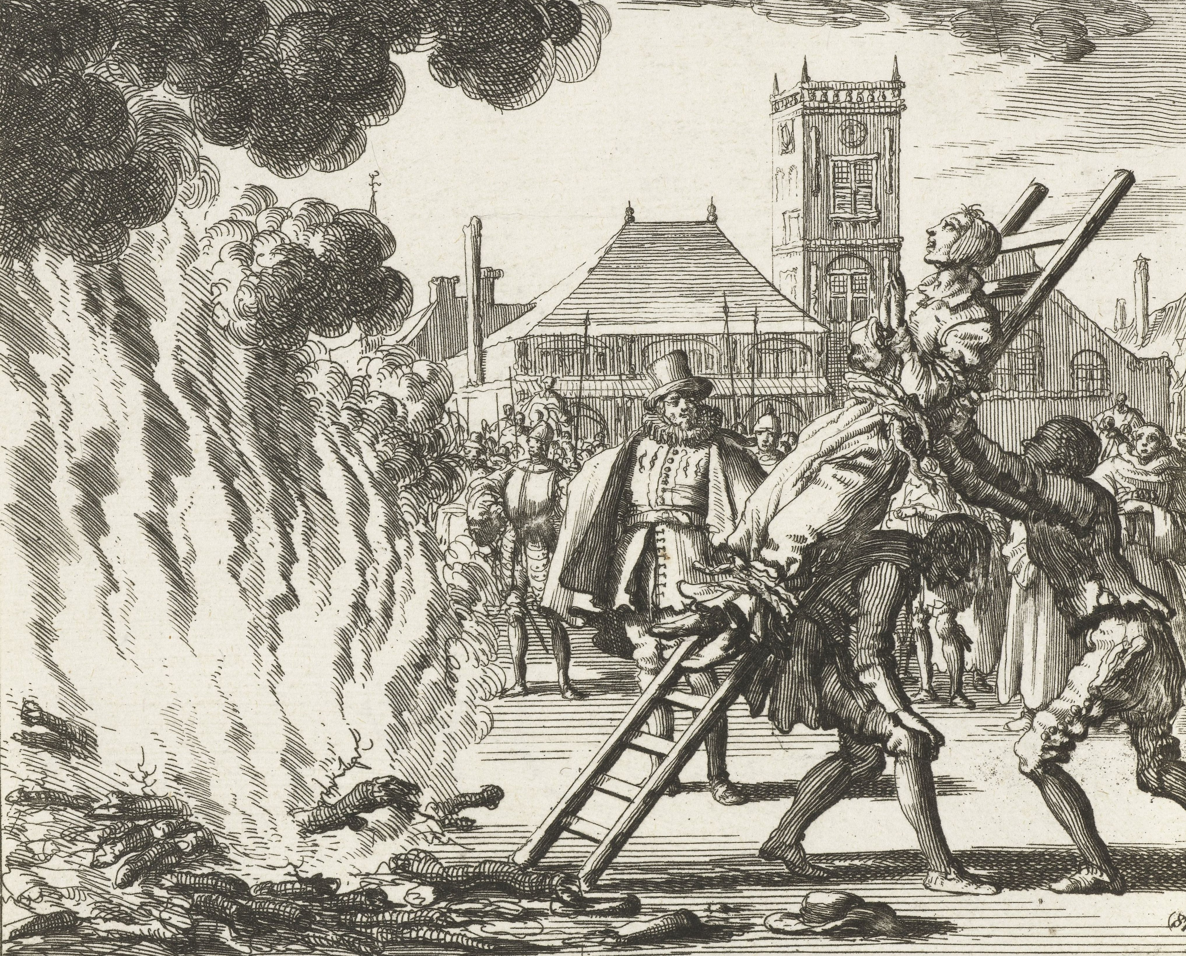 Niet alleen heksen waren tot het vuur verdoemd, ook protestantse ketters werden verbrand. De afbeelding geeft duidelijk weer hoe de straf werd uitgevoerd.