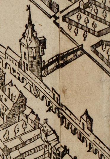 De bogen ter hoogte van de Jan Rodenpoort (houtsnede Cornelis Anthoniszn. 1544).