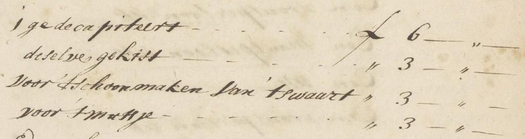 Een detail van de beulsrekening van 5 juli 1698
