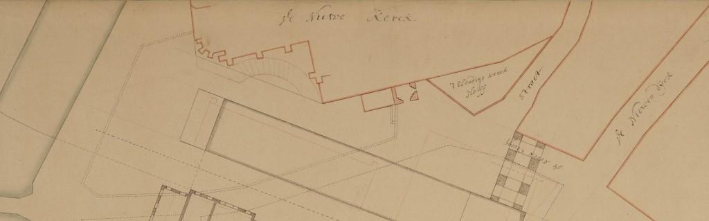 Reeds in 1642 waren er plannen om een nieuw stadhuis te bouwen. Op deze plattegrond is duidelijk te zien dat het gewijde kerkhof moest wijken. Voor het Ellendigenkerkhof was echter nog wel plaats.