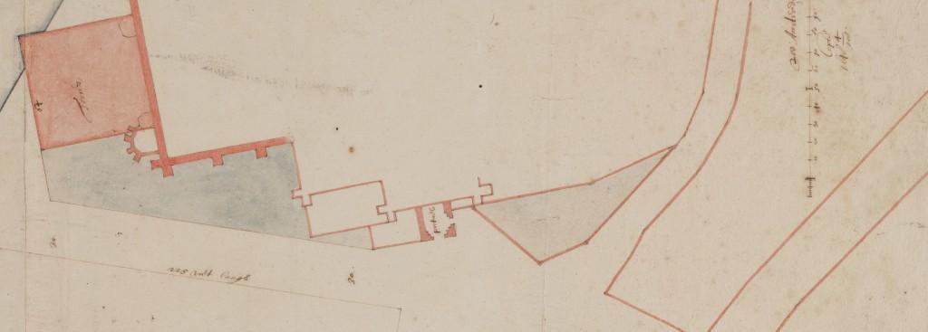 Plattegrond van 28 april 1648 ten behoeve van de bouw van het huidige Paleis op de Dam. Ook nu nog staat het Ellendigenkerkhof ingetekend. Let ook op de geplande toren van de Nieuwe Kerk die er nooit is gekomen.