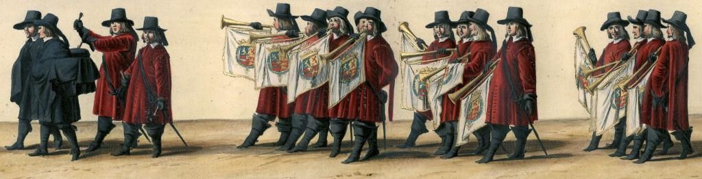 Muzikanten in de begrafenisstoet van Frederik Hendrik. Pieter Nolpe, Pieter Jansz. Post, Pieter Jansz. Post, 1651