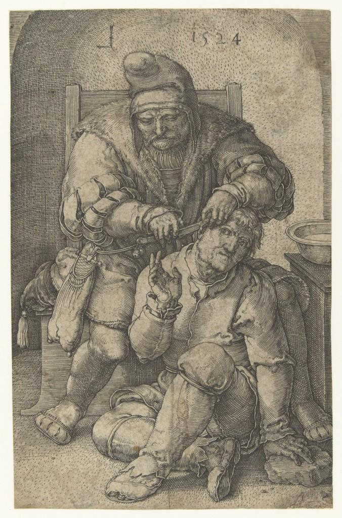 Een chirurgijn aan het werk. Lucas van Leyden, 1524.