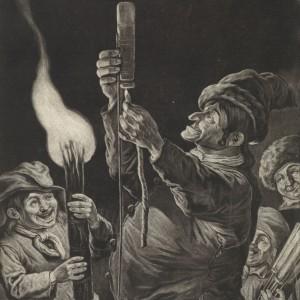 De man met een vuurpijl, met toeschouwers, 1695, Jacob Gole, Cornelis Dusart, 1695 - 1724 - kopie
