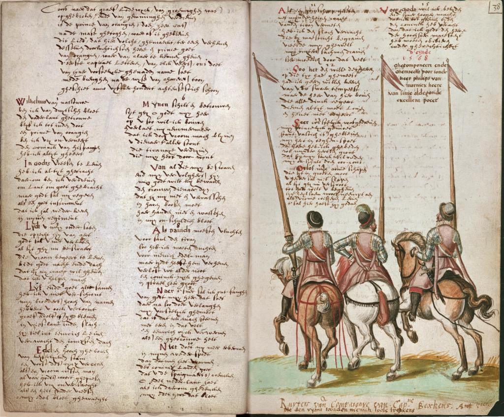 Een afbeelding uit het boek van Willem de Gortter waarin het Wilhelmus is uitgeschreven (1618)