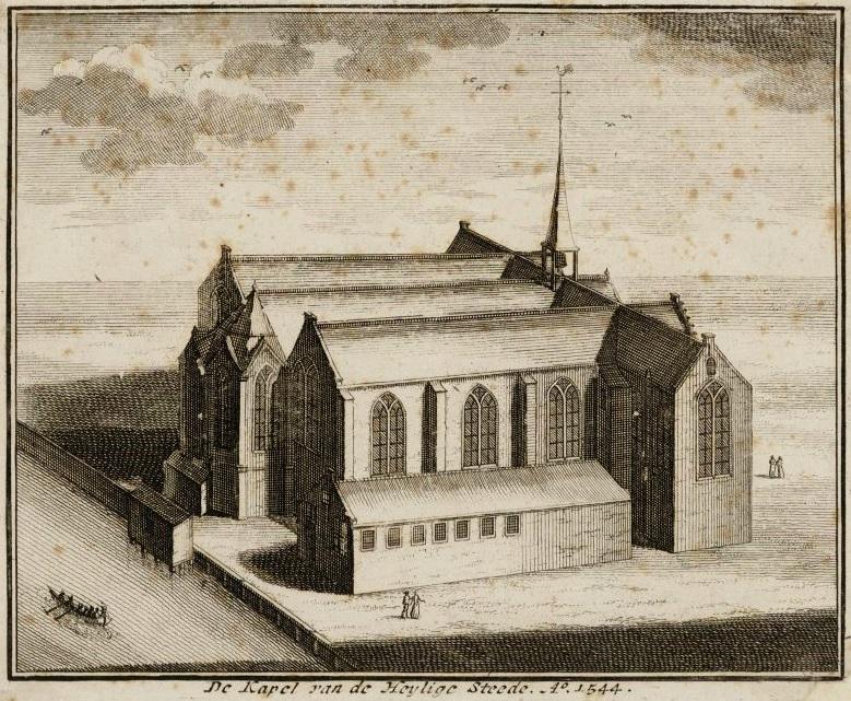 De Nieuwezijds Kapel, links is het Rokin. Tegenwoordig is in de kapel de Amsterdam Dungeon gevestigd.