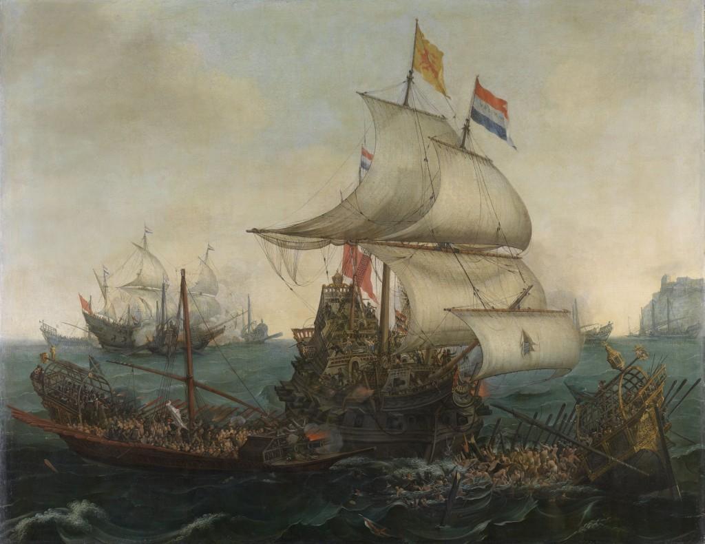 Hollandse schepen overzeilen Spaanse galeien onder de Engelse kust, 3 oktober 1602, Hendrik Cornelisz. Vroom, Cornelis Hendriksz. Vroom, 1617