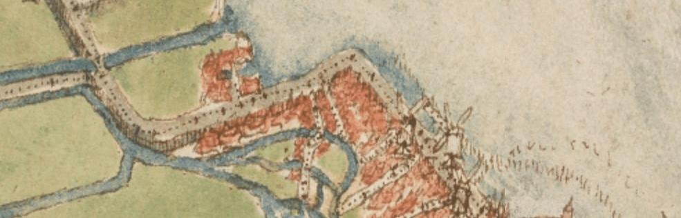 De vermoedelijke locatie van het buitendijks gelegen Geuzenkerkhof op de kaart van Jacob van Deventer. Ook duidelijk is de scherpe knik in de dijk te zien.
