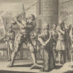 Johan van Oldenbarnevelt onthoofd, 1619, Jan Luyken, Pieter van der Aa (I), 1698