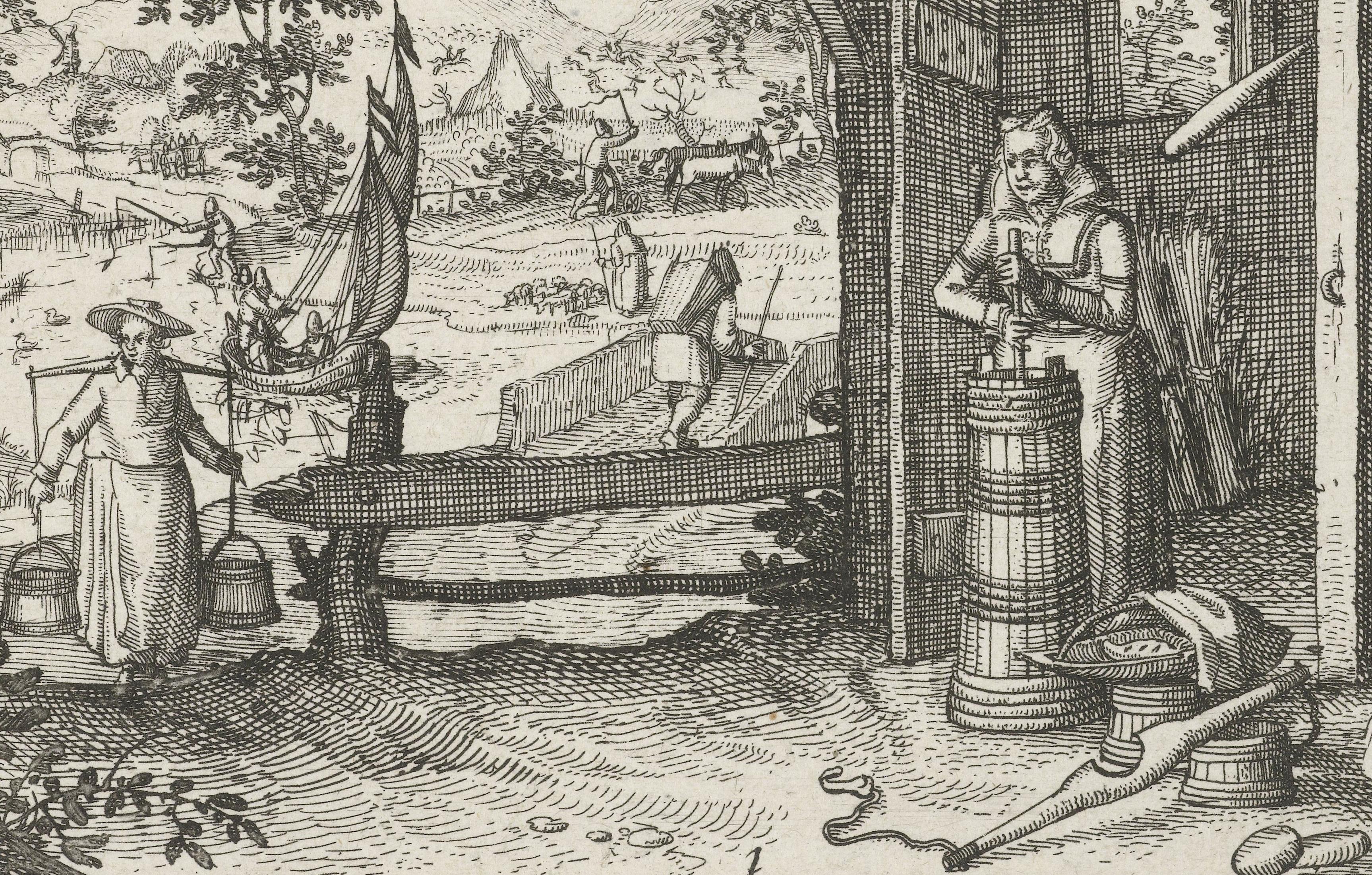 Een vrouw is boter aan het karnen. Links komt een vrouw met een voorraad melk, dragend met een melkjuk (circa 1608).