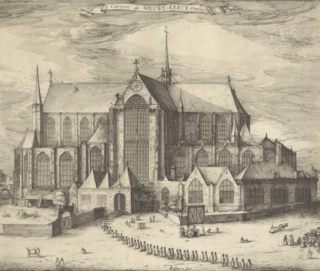 De Nieuwe Kerk in Amsterdam. Links ligt het gewijde kerkhof, aan de rechterkant van de rouwstoet het Ellendigenkerkhof.