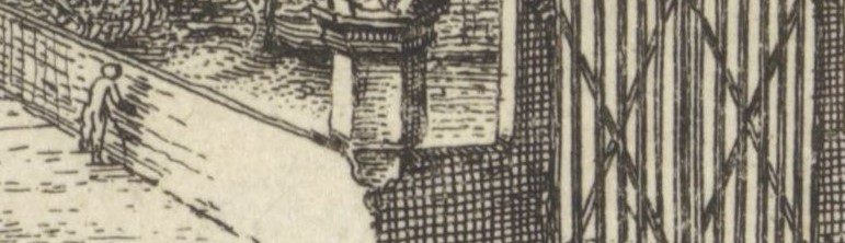 Detail uit de eerste afbeelding van de Nieuwe Kerk. Een mannetje staat doodleuk tegen de muur van het Ellendigenkerkhof te plassen.