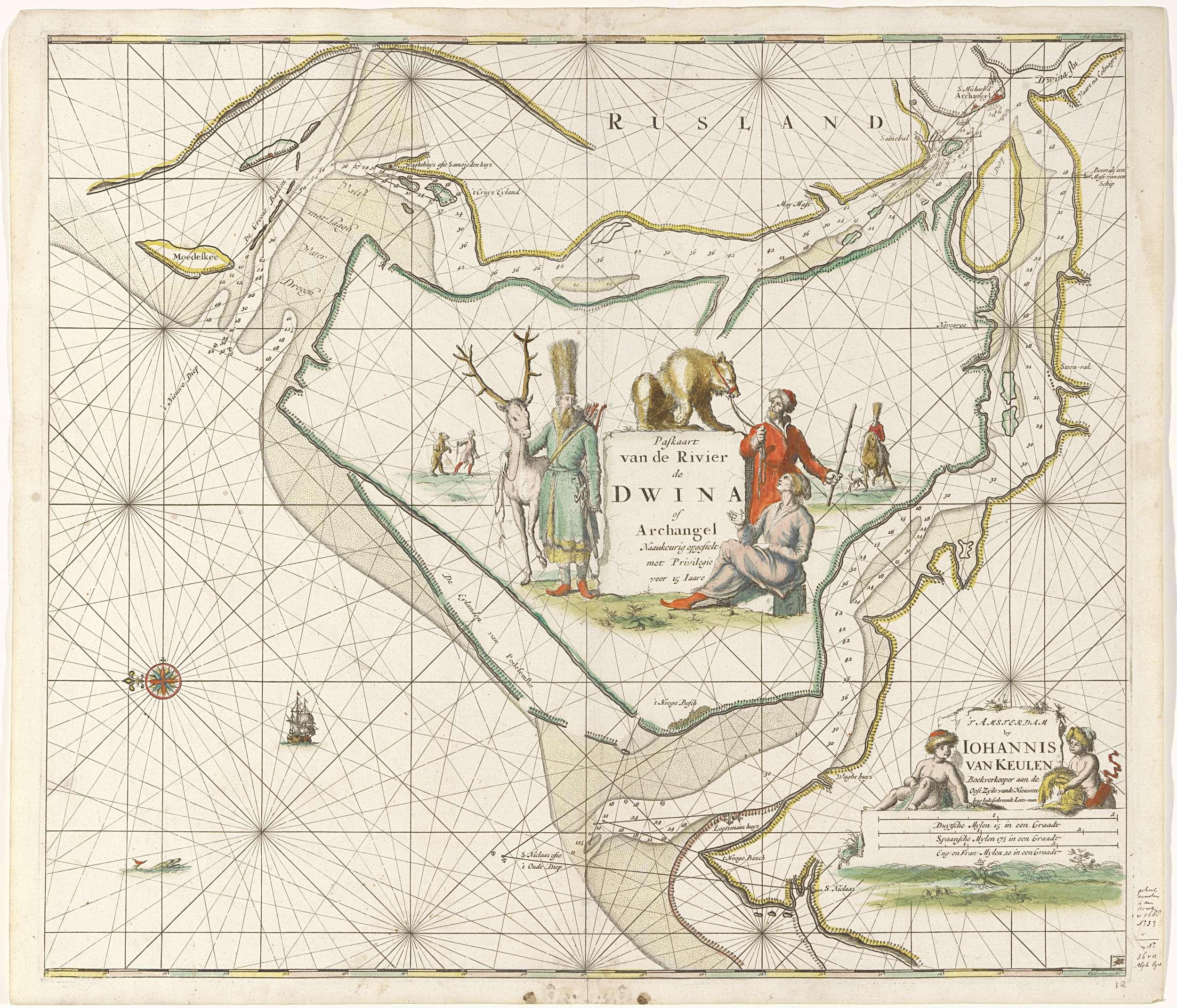 Paskaart van de omgeving rondom Archangel (rechtsboven op de kaart).