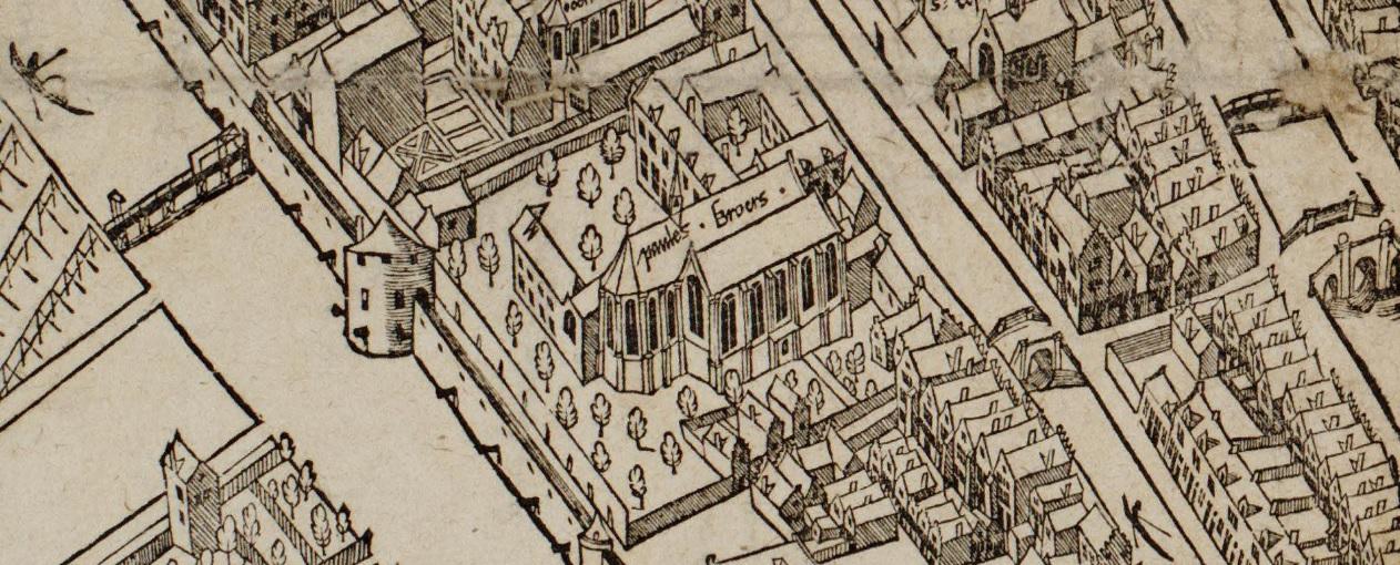 De klooster van de Paulesbroers op de kaart van Anthonisz. (1544)