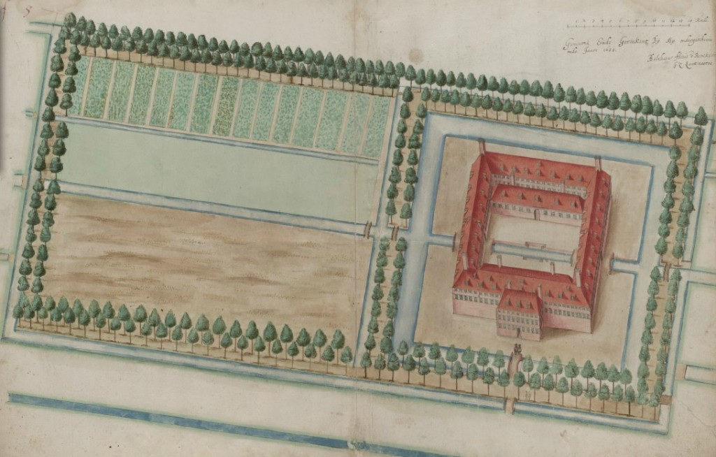 Het pesthuis in 1635, gezien in noordwestelijke richting. Het water aan de onderkant is de huidige Overtoom.