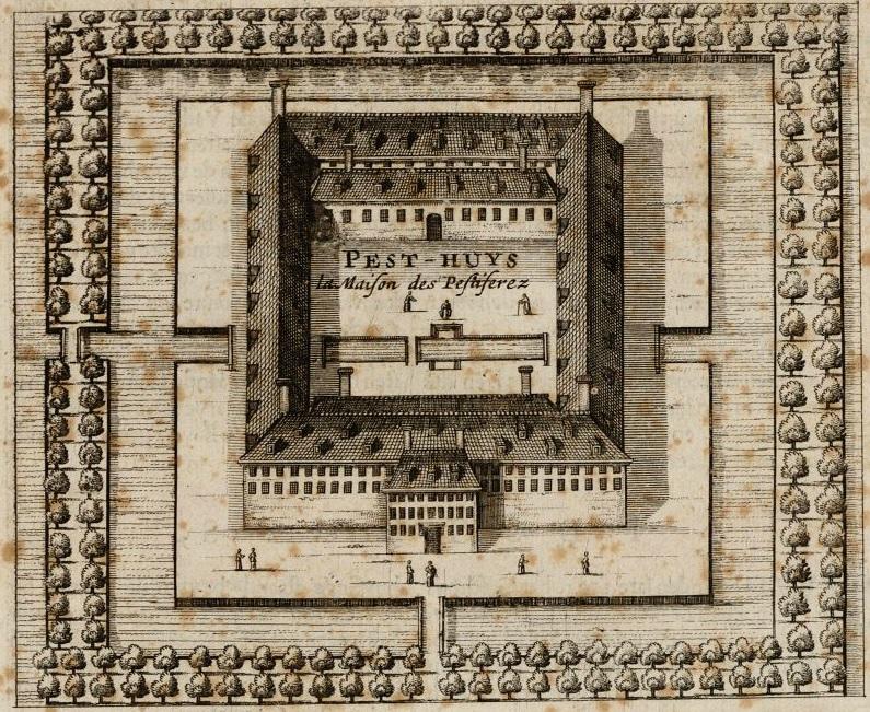 Pesthuis van boven af gezien (1665).