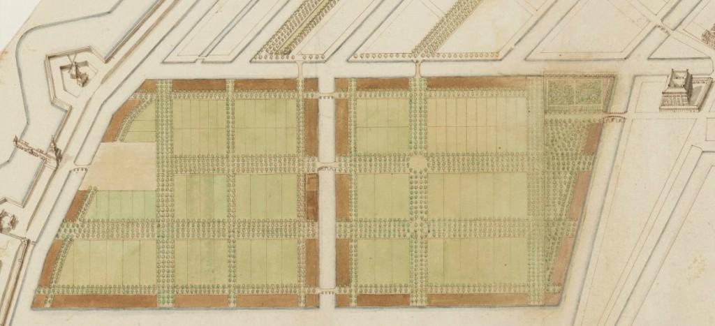 Manuscriptkaart met het ontwerp voor de Plantage, op onbekende schaal, vervaardigd door Jacob Bosch in 1682.