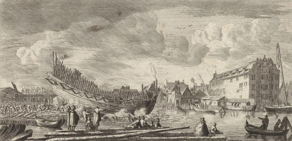 Tewaterlating van een schip nabij de Peperwerf. Rechts is het pakhuis van de VOC te zien, Reinier Nooms, 1652 - 1654