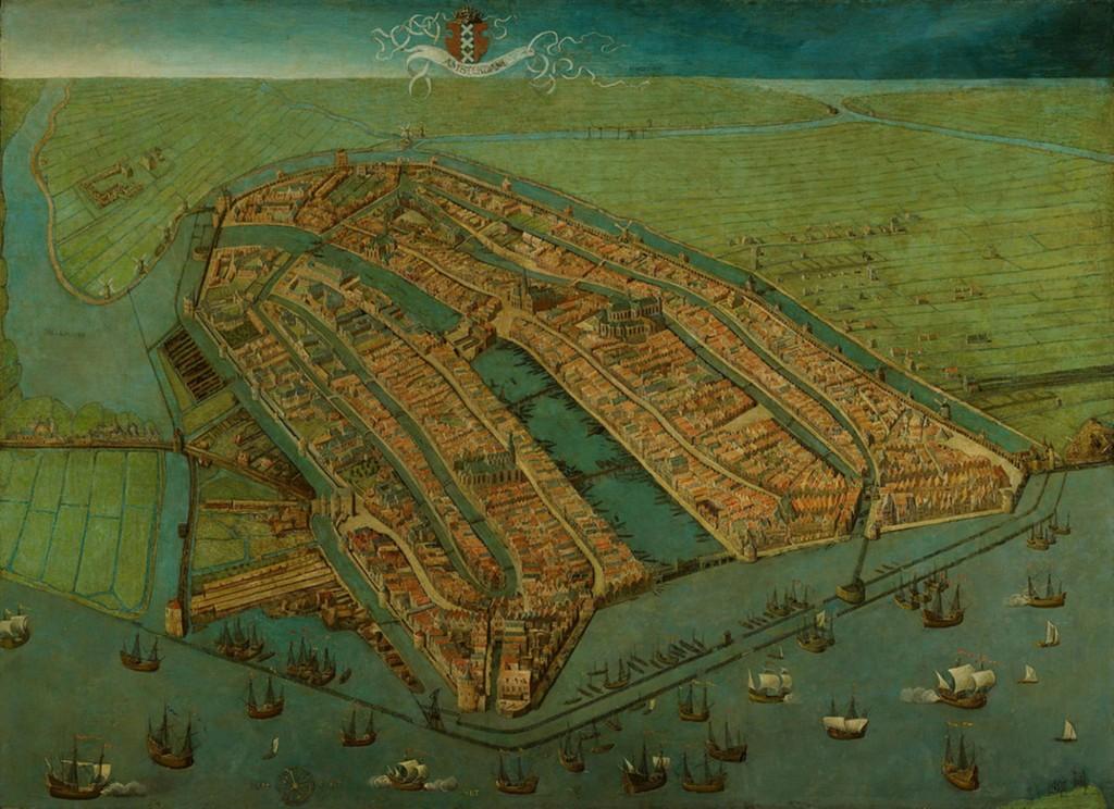 Middeleeuws Amsterdam op het schilderij van Cornelis Anthonisz 1538. Het tracé van de middeleeuwse stadsmuur is duidelijk te zien.