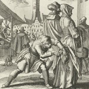 Vrouw op een jaarmarkt door een dief van haar geldbuidel beroofd, Jan Luyken, Jan Bouman, 1685 - kopie