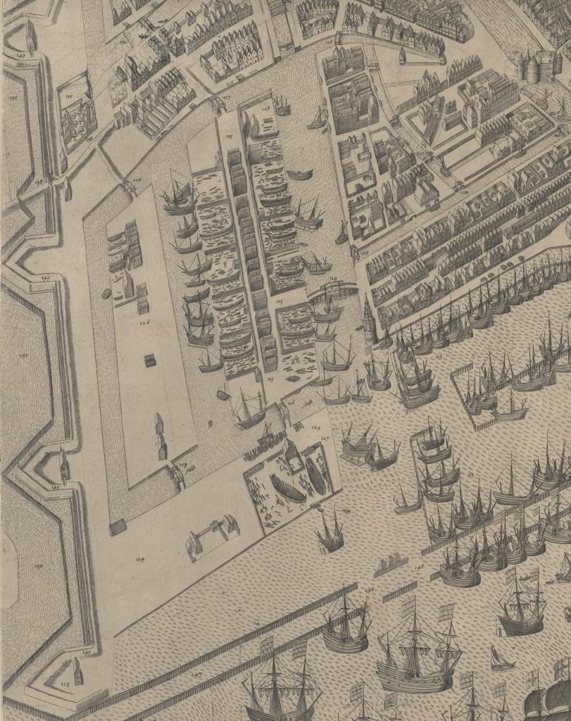 De nieuwe eilanden ten oosten van de stad. Onderaan ligt Rapenburg, het smalle eiland links is Marken. Het volgebouwde eiland rechts is Uilenburg. (Bast-1597)