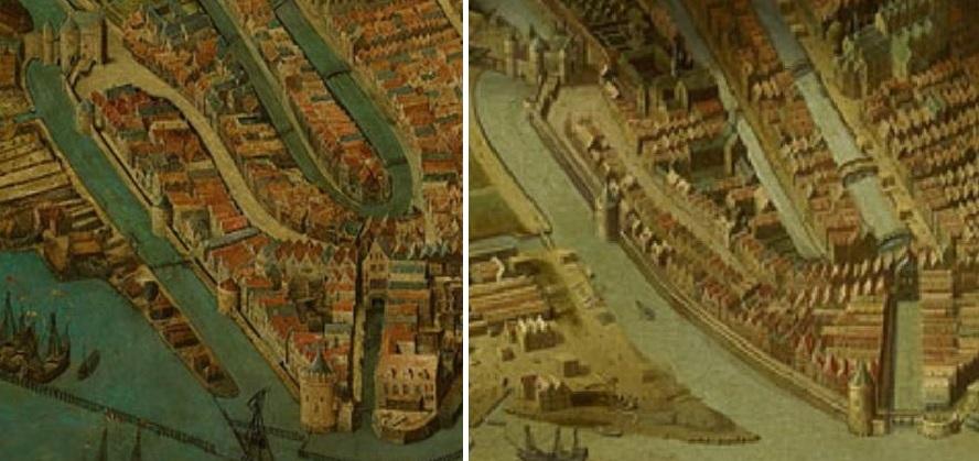 Links een detail uit het schilderij van Anthoniszoon. Tussen de Schreierstoren en de Nieuwmarkt bevinden zich drie torens. Op het schilderij van Jan Micker (1660), dat een vrije kopie van Anthoniszoon is, zijn de torens verdwenen en hebben plaats gemaakt voor één rondeel.