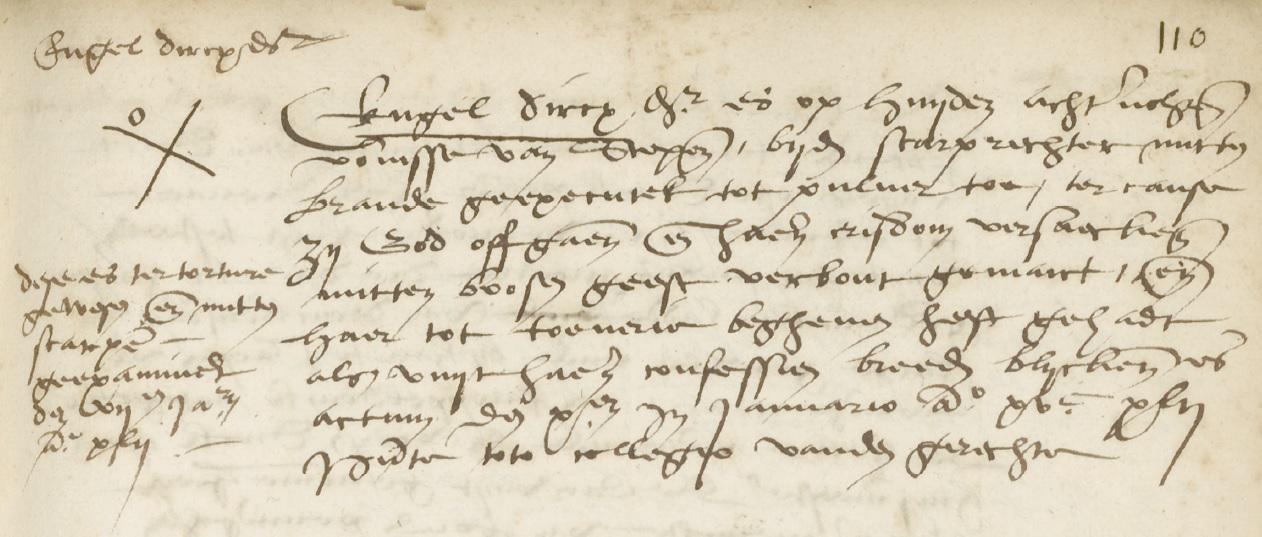 Engel Dircxdochter werd op 10 januari 1542 door het vuur tot pulver verbrand.
